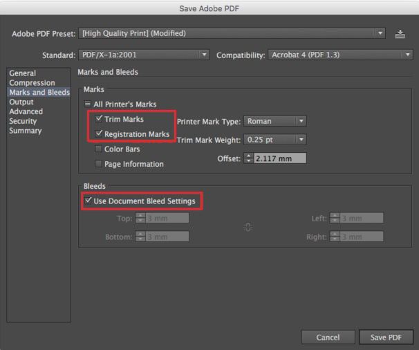 Set trim marks and registration marks and use document bleed settings